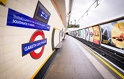 Southgate Tube Station, Southgate, London Borough of Enfield, London, Great Britain <br /> 16th July 2018 <br /> <br /> <br /> TFL have renamed Southgate station as<br /> 'Gareth Southgate' station for 2 days in honour of the England World Cup 2018 team coming 4th.<br /> <br /> Photograph by Elliott Franks