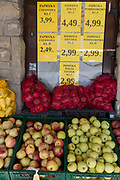 A display of fresh fruit, mainly apples, paprikas and peppers, outside a small Polish supermarket, on 21st September 2019, in Szczawnica, Malopolska, Poland.