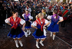 Dance group in traditional dress at reception of Slovenian bronze medalist cross-country skier Petra Majdic at her home town Dol pri Ljubljani after she came from Vancouver after Winter Olympic games 2010, on March 1, 2010 in Dol pri Ljubljani, Slovenia. (Photo by Vid Ponikvar / Sportida)