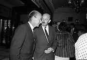 """24/07/1967<br /> 07/24/1967<br /> 24 July 1967<br /> First showing of """"Fleá Cheoil"""" at the Metropole Cinema, Dublin. A presentation was made to the director of the film Mr. Louis Marcus, for winning the Silver Bear Award at the Berlin International Film Festival, by Taoiseach Jack Lynch TD, on behalf of the Cork Film Society, where Mr. Marcus began his carrier. President of the Society Mr. Sean Hendrick attended the presentation. Image shows Minister for Labour Dr. Patrick Hillery being greeted on his arrival by Donal O Moráin, Ceannasai Gael-Linn."""