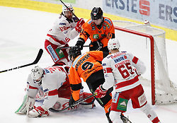 01.01.2020, Merkur Eisstadion, Graz, AUT, EBEL, Moser Medical Graz 99ers vs EC KAC, 34. Runde, im Bild von links David Madlener (EC KAC), Martin Schumnig (EC KAC), Matthew Garbowsky (Moser Medical Graz 99ers), Zintis Zusevics (Moser Medical Graz 99ers) und Michael Kernberger (EC KAC) // from l to r David Madlener (EC KAC) Martin Schumnig (EC KAC) Matthew Garbowsky (Moser Medical Graz 99ers) Zintis Zusevics (Moser Medical Graz 99ers) and Michael Kernberger (EC KAC) during the Erste Bank Eishockey League 34th round match between Moser Medical Graz 99ers and EC KAC at the Merkur Eisstadion in Graz, Austria on 2020/01/01. EXPA Pictures © 2019, PhotoCredit: EXPA/ Erwin Scheriau