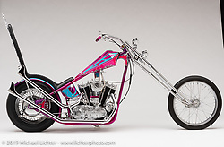 """""""Highway Star"""", A Pink Prisim tank Chopper, built from a 900 CC XLCH 1964 Sportster, by Jack Deagazio. in East Syracuse, NY. Photographed by Michael Lichter in Sturgis, SD on 7/29/18. ©2018 Michael Lichter."""