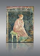 Roman fresco wall painting of a women thinking from the Villa Arianna (Adriana), Stabiae (Stabia) near Pompeii , inv 9097, Naples National Archaeological Museum , grey background .<br /> <br /> If you prefer to buy from our ALAMY PHOTO LIBRARY  Collection visit : https://www.alamy.com/portfolio/paul-williams-funkystock - Scroll down and type - Roman Fresco Naples  - into LOWER search box. {TIP - Refine search by adding a background colour as well}.<br /> <br /> Visit our ROMAN ART & HISTORIC SITES PHOTO COLLECTIONS for more photos to download or buy as wall art prints https://funkystock.photoshelter.com/gallery-collection/The-Romans-Art-Artefacts-Antiquities-Historic-Sites-Pictures-Images/C0000r2uLJJo9_s0