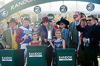 National Hunt Horse Racing - 2017 Randox Grand National Festival - Saturday, Day Three [Grand National Day]<br /> <br /> Derek Fox jockey on  One For Arthur celebrates on the podium  with owners & trainer Lucinda Russell after winning  the 5.15, the Randox Health Grand National  at Aintree Racecourse.<br /> <br /> COLORSPORT/WINSTON BYNORTH<br /> <br /> <br /> <br /> <br /> <br /> <br /> <br /> <br /> <br /> <br /> National Hunt Horse Racing - 2017 Randox Grand National Festival - Saturday, Day Three [Grand National Day]<br /> <br />  in the 1st race the 1.45 Gaskells Handicap Hurdle at Aintree Racecourse.<br /> <br /> COLORSPORT/WINSTON BYNORTH