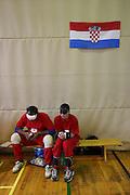 Zwei serbische Spieler warten beim internationalen Goalball Turnier in Zagreb auf ihren Einsatz. Goalball ist eine Mannschaftssportart für blinde und sehbehinderte Menschen und wurde vom Österreicher Hans Lorenzen und dem deutschen Sepp Reindle für Kriegsinvalide entwickelt und zum ersten Mal 1946 gespielt. Die Bilder entstanden auf zwei internationalen Goalball Turnieren in Budapest und Zagreb 2007.<br /> <br /> Two serbian players are waiting for their run-out during the international Goalball tournament in Zagreb. Goalball is a team sport designed for blind and visually impaired athletes. It was devised by an Austrian, Hanz Lorenzen, and a German, Sepp Reindle, in 1946 in an effort to help in the rehabilitation of visually impaired World War II veterans. The International Blind Sports Federatgion (IBSA - www.ibsa.es), responsible for fifteen sports for the blind and partially sighted in total, is the governing body for this sport. The images were made during two Goalball tournaments in Budapest and Zahreb 2007.