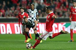 February 17, 2018 - Lisbon, Portugal - Benfica's Brazilian forward Jonas shoots a penalty during the Portuguese League football match SL Benfica vs Boavista FC at the Luz stadium in Lisbon on February 17, 2018. (Credit Image: © Pedro Fiuza/NurPhoto via ZUMA Press)