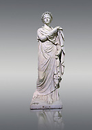 2nd century AD Roman marble sculpture known as 'The Small Women' the so called Flora, copied from a 4th century BC  Hellanistic Greek original,  inv 6404, Naples Museum of Archaeology, Italy.<br /> <br /> If you prefer to buy from our ALAMY STOCK LIBRARY page at https://www.alamy.com/portfolio/paul-williams-funkystock/greco-roman-sculptures.html . Type -    Naples    - into LOWER SEARCH WITHIN GALLERY box - Refine search by adding a subject, place, background colour, etc.<br /> <br /> Visit our ROMAN WORLD PHOTO COLLECTIONS for more photos to download or buy as wall art prints https://funkystock.photoshelter.com/gallery-collection/The-Romans-Art-Artefacts-Antiquities-Historic-Sites-Pictures-Images/C0000r2uLJJo9_s0