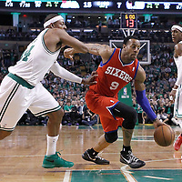 14 May 2012: Philadelphia Sixers small forward Andre Iguodala (9) drives past Boston Celtics small forward Paul Pierce (34) during the Philadelphia Sixers 82-81 victory over the Boston Celtics, in Game 2 of the Eastern Conference semifinals playoff series, at the TD Banknorth Garden, Boston, Massachusetts, USA.