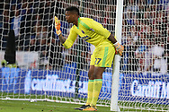 Jamal Blackman, the Sheffield United goalkeeper looks on. EFL Skybet championship match, Cardiff city v Sheffield Utd at the Cardiff City Stadium in Cardiff, South Wales on Tuesday 15th August 2017.<br /> pic by Andrew Orchard, Andrew Orchard sports photography.