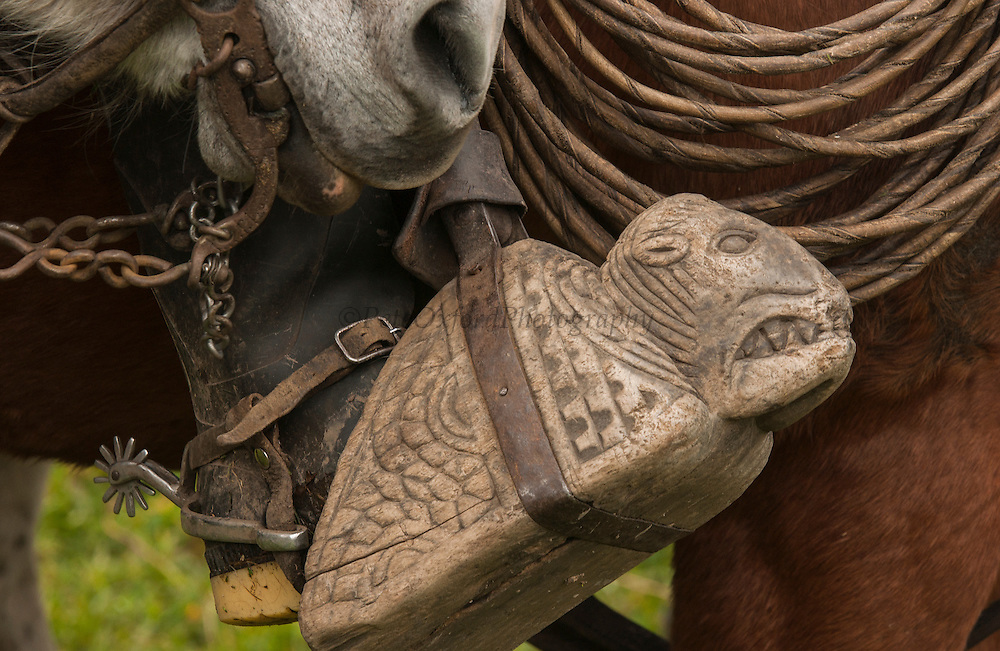 Hand-carved wooden stirrup used by Ecuadorian Chagras (cowboys)<br /> Yanahurco Hacienda (Ranch) - largest privately owned ranch in Ecuador<br /> base of Cotopaxi Volcano<br /> Andes<br /> ECUADOR.  South America