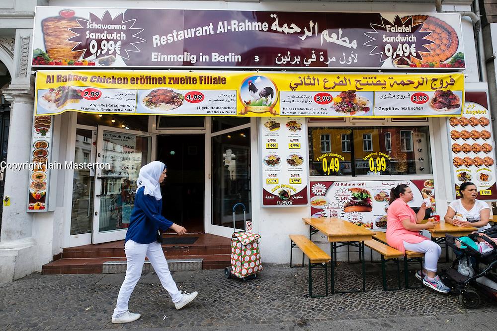 Middle Eastern food restaurant on Karl Marx Strasse in Neukolln district of Berlin in Germany