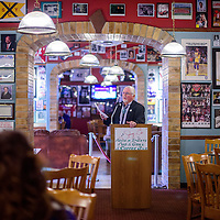 022415       Cable Hoover<br /> <br /> Gallup mayor Jackie McKinney speaks to a group of local health providers Tuesday at Sammy C's restaurant in Gallup.