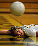 Shannon Roland expresses how she feels after diving for a ball during a hard practice. The Del Oro volleyball team had a big turnaround going from one of the weakest to one of the stongest teams.