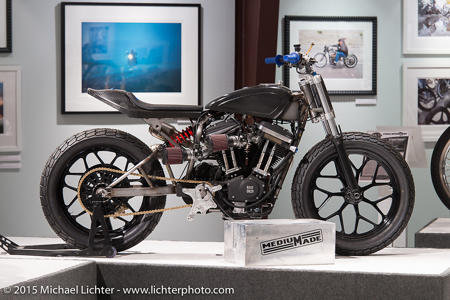 """Hunter Klee's Harley-Davidson XR1200/Buell XB12 W/STD """"XR"""" style heads in Michael Lichter's Motorcycles as Art annual exhibition titled """"The Naked Truth"""" at the Buffalo Chip Gallery during the 75th Annual Sturgis Black Hills Motorcycle Rally.  SD, USA.  August 4, 2015.  Photography ©2015 Michael Lichter."""