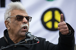 London, UK. 11 January, 2020. Tariq Ali addresses the No War on Iran demonstration in Trafalgar Square organised by Stop the War Coalition and the Campaign for Nuclear Disarmament to call for deescalation in the Middle East following the assassination by the United States of Iranian General Qassem Soleimani and the subsequent Iranian missile attack on US bases in Iraq.