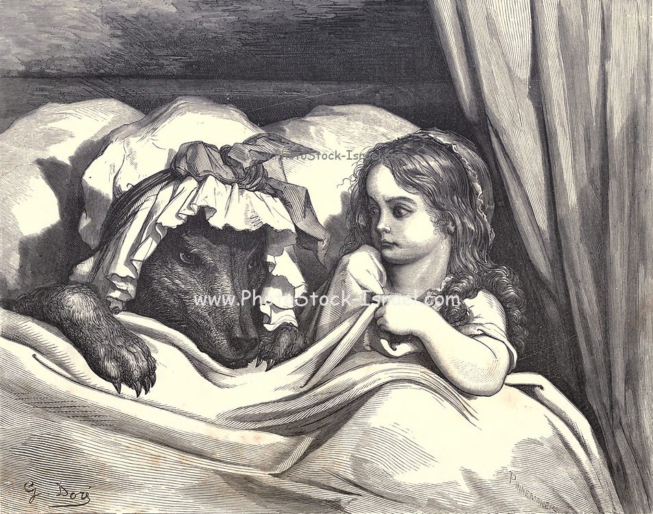 """Oh, Granny, your teeth are tremendous in size!"""" """"They're to eat you!"""" – and he ate her!' from 'Little Red Riding Hood' by Paul Gustave Dore (1832-1883) from the book Fairy realm. A collection of the favourite old tales. Illustrated by the pencil of Gustave Dore by Tom Hood, (1835-1874); Gustave Doré, (1832-1883) Published in London by Ward, Lock and Tyler in 1866"""