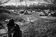 Calais, France, 5 Februari 2015, At the jungle of leader price some 500 people from mainly from Sudan and Eritrea camp in very bad conditions.