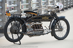 Mark Hill's 4-cylinder 1915 class-2 Henderson that mechanic and restorer Tanner Whitton would be riding before the start of the Motorcycle Cannonball Race of the Century Run. Atlantic City, NJ, USA. September 9, 2016. Photography ©2016 Michael Lichter.