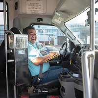 Gallup Express bus driver Thomas Duboise makes a stop  at Gallup Indian Medical Center on the Red Line route Thursday afternoon in Gallup.
