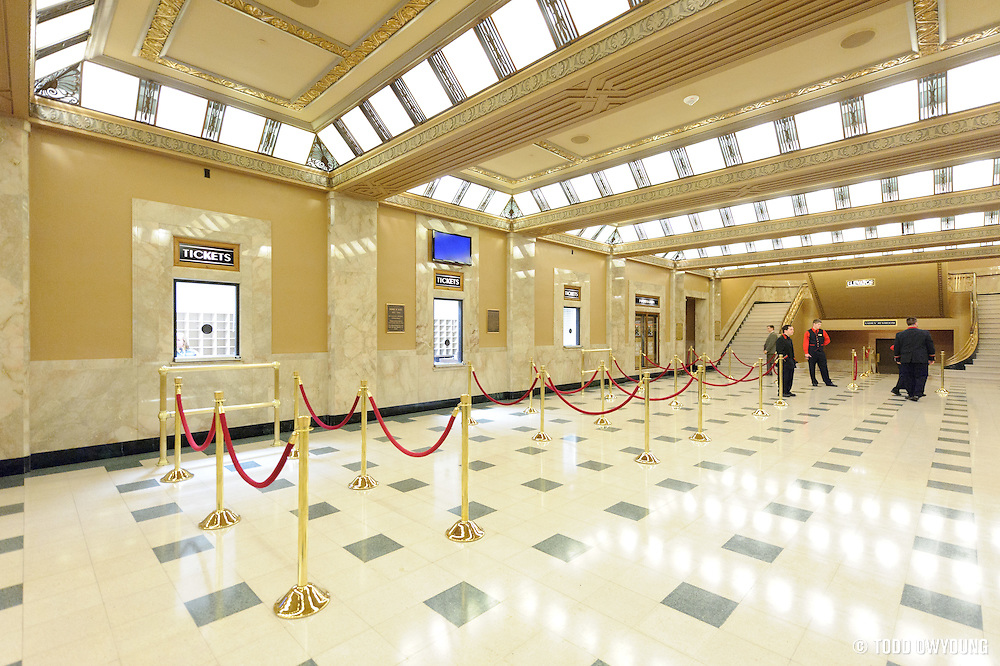 A view of the box office of the Peabody Opera House in the calm before the concert rush at Widespread Panic.