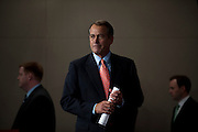 Speaker of the House JOHN BOEHNER (R-OH) holds his weekly press conference at the U.S. Capitol on Thursday. BOEHNER responded Thursday to the criticisms of a group of Roman Catholics, rejecting their claim that his budget cut decisions are hurting the poor.