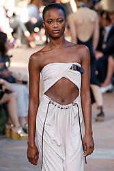 Model Mayowa Nicholas walks on the runway during the Alberta Ferretti Fashion Show during Milan Fashion Week Spring Summer 2018 held in Milan, Italy on September 20, 2017. (Photo by Jonas Gustavsson/Sipa USA)