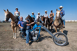 Bobbi and Clinton Wallace at the Cycle Source motorcycle rodeo games at the Spur Creek Ranch during the 78th annual Sturgis Motorcycle Rally. Sturgis, SD. USA. Wednesday August 8, 2018. Photography ©2018 Michael Lichter.