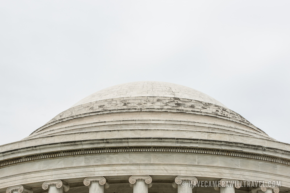 The top of the distinctive dome of the Jefferson Memorial, on the banks of the Tidal Basin in Washington DC.