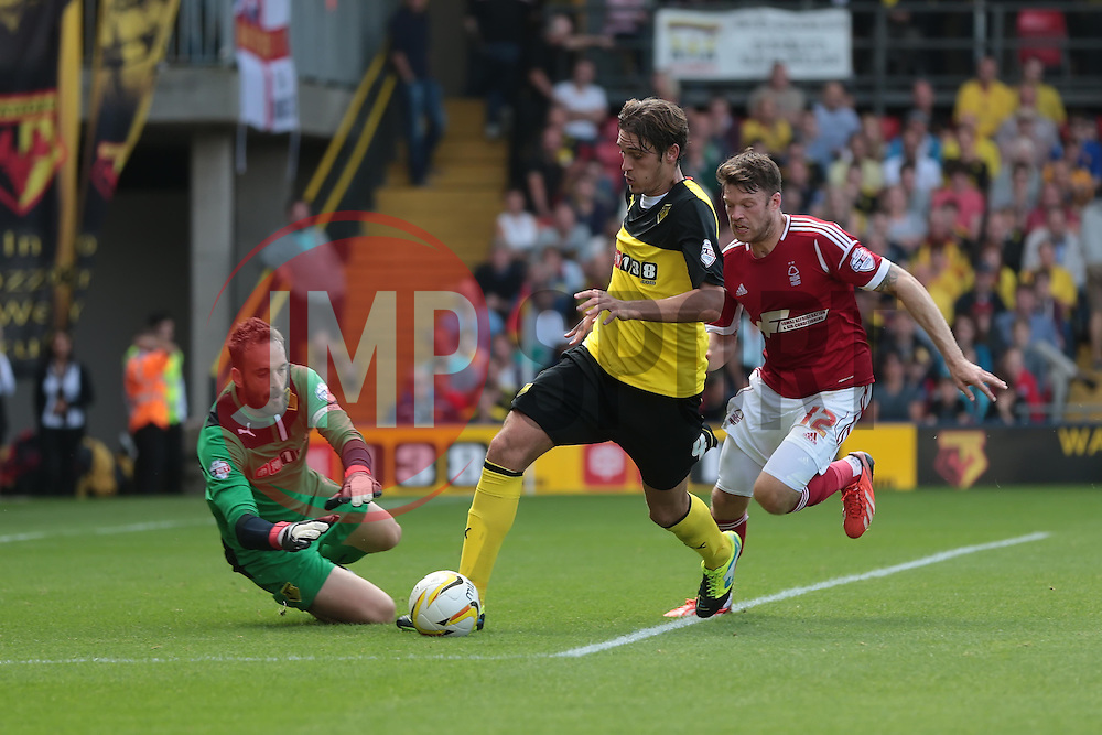 Watford's Gabriele Angella takes control in the box from Nottingham Forest's Jamie Mackie  - Photo mandatory by-line: Nigel Pitts-Drake/JMP - Tel: Mobile: 07966 386802 25/08/2013 - SPORT - FOOTBALL -Vicarage Road Stadium - Watford -  Watford v Nottingham Forest - Sky Bet Championship