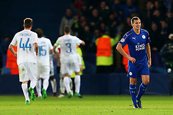 Marc Albrighton of Leicester City looks dejected as Jose Izquierdo of Club Brugge celebrates - Mandatory by-line: Matt McNulty/JMP - 22/11/2016 - FOOTBALL - King Power Stadium - Leicester, England - Leicester City v Club Brugge - UEFA Champions League