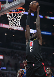 March 8, 2019 - Los Angeles, California, U.S - Montrezl Harrell #5 of the Los Angeles Clippers goes for a dunk during their NBA game with the Oklahoma Thunder on Friday March 8, 2019 at the Staples Center in Los Angeles, California. JAVIER ROJAS/PI (Credit Image: © Prensa Internacional via ZUMA Wire)