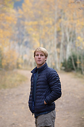 All American man outdoors in the woods