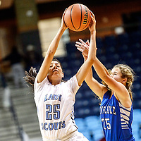 Window Rock Scout Vanessa James (25) steals a pass from Snowflake Lobo Taryn Flake (25) at the Fighting Scout Event Center in Fort Defiance Wednesday.