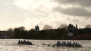 Putney, London, ENGLAND, 02.04.2006, Oxford left and Cambridge pass Chiswich Eyot during the 2006, Varsity, Boat Race, Oxford vs Cambridge,  © Peter Spurrier/Intersport-images.com.[Mandatory Credit Peter Spurrier/ Intersport Images] 2006, Varsity Boat Race,  Varsity, Boat race. Rowing Course: River Thames, Championship course, Putney to Mortlake 4.25 Miles