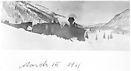 """RGS 2-8-0 #16 with large wedge plow followed by a flanger, a block & tool car, a box car and caboose #0404.  Location is uncertain but may be a little above Coke Ovens as estimated from this north-looking photo.<br /> RGS  Coke Ovens, CO  3/15/1911<br /> In book """"Rio Grande Southern II, The: An Ultimate Pictorial Study"""" page 96<br /> Same as RD155-072, RD148-072 and RD148-107.<br /> Thanks to Don Bergman for additional information."""