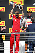C. SANTI of Ferrari with the team trophy. <br /> Formula One, F1 Grand Prix in Austin, TEXAS, USA 2018 - race on 21. October, F1, Formel 1, Formule 1  - circuit of the Americas -  fee liable image - Photo Credit: © ATP / Clay CROSS
