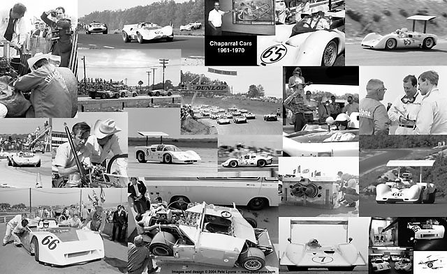 ChaparralCollage.jpg<br /> <br /> How many different images can you count in this collage? Every one of Jim Hall's incredibly innovative sports racers is represented here, recalling the wonderful days when the Road Runners from West Texas ran wild around the courses of America. <br /> <br /> This 13 x 19-inch collage is one example of many we enjoy creating. Feel free to ask about custom projects. (The watermarks shown here are NOT on the finished prints.)