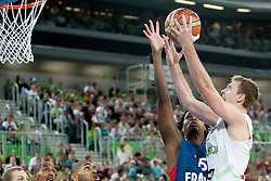 Mickael Gebale of France and Zoran Dragic of Slovenia during last friendly match before Eurobasket 2013 between National teams of Slovenia and France on August 31, 2013 in SRC Stozice, Ljubljana, Slovenia. (Photo by Urban Urbanc / Sportida.com)