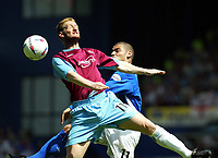 Photo. Chris Ratcliffe, Digitalsport<br /> NORWAY ONLY<br /> <br /> Ipswich Town v West Ham United. Division One Play-off Semi-final. 15/05/2004<br /> Steve Lomas of West Ham and Jermaine Wright of Ipswich go up for an aerial ball
