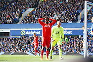 Daniel Sturridge of Liverpool reacts to missing a chance at scoring. Barclays Premier League match, Everton v Liverpool at Goodison Park in Liverpool on Sunday 4th October 2015.<br /> pic by Chris Stading, Andrew Orchard sports photography.