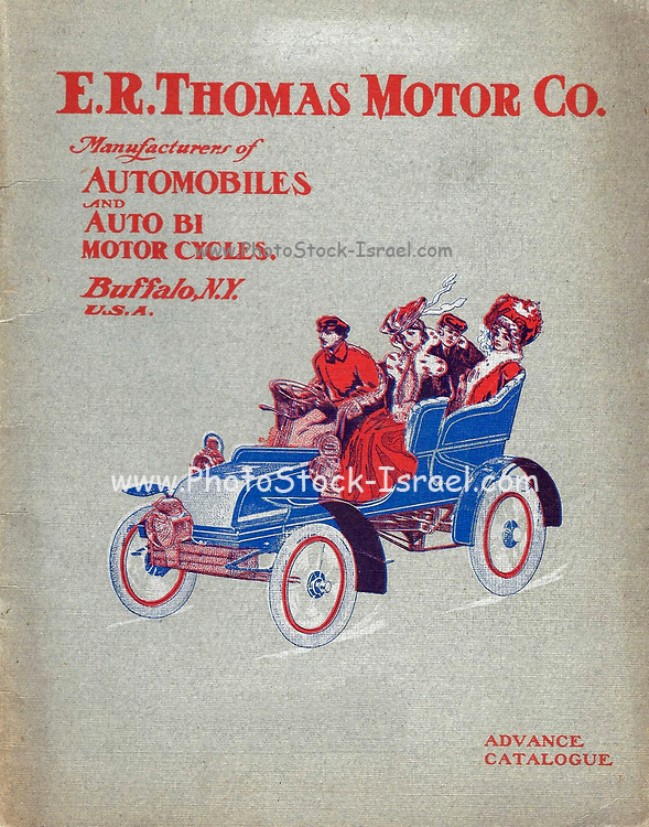 The E. R. Thomas Motor Co. Inc Advance Catalogue — Maker Of Automobiles and Auto-Bi Motorcycles — From Buffalo New York, USA, Printed 1903. E. R. Thomas Motor Company was a manufacturer of motorized bicycles, motorized tricycles, motorcycles, and automobiles in Buffalo, New York between 1900 and 1919