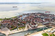 Nederland, Zeeland, Walcheren, 09-05-2013; zeeschepen op de rede van Vlissingen. In de voorgrond Het Dok (Dokhaven).<br /> Ships at the Flusing roadsted, inner city.<br /> luchtfoto (toeslag op standard tarieven)<br /> aerial photo (additional fee required)<br /> copyright foto/photo Siebe Swart