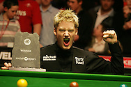 Neil Robertson of Australia celebrates winning the 2007 Welsh Open snooker championship at the Newport Centre, pic by Andrew Orchard