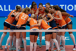 03-08-2019 ITA: FIVB Tokyo Volleyball Qualification 2019 / Netherlands, - Kenya Catania<br /> 3rd match pool F in hall Pala Catania between Netherlands - Kenya. Netherlands win 3-0 / Start of match yell...Netherlands