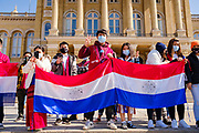 06 MARCH 2021 - DES MOINES, IOWA: Karenni refugees living in Iowa hold up Karenni flags during a protest against the military coup in Myanmar. The Karenni are a Burmese ethnic minority that has been historically oppressed by military authorities in Myanmar. About 300 members of the Burmese community in Iowa gathered at the State Capitol in Des Moines Saturday to protest against the military coup that deposed the popularly elected government of Aung San Suu Kyi and continuing military oppression in Myanmar. There are about 10,000 people in Iowa's Burmese community.      PHOTO BY JACK KURTZ