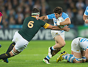 London, Great Britain, Tomas CUBELLI, hands off, Francois LOUW  during the South Africa vs Argentina. 2015 Rugby World Cup, Bronze Medal Match.Queen Elizabeth Olympic Park. Stadium, Stratford. East London. England,, Friday  30/10/2015. <br /> [Mandatory Credit; Peter Spurrier/Intersport-images]