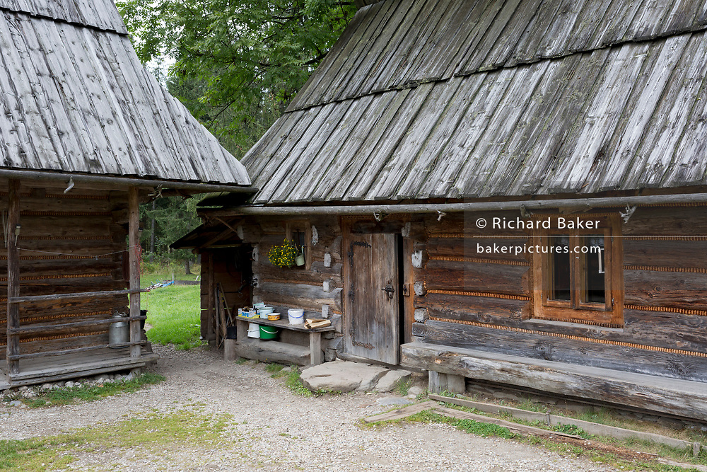 A traditional agricultural home in Dolina Chocholowska, a hiking route in the Tatra National Park, on 17th September 2019, near Zakopane, Malopolska, Poland.