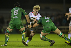 December 24, 2017 - Galway, Ireland - Rob Lyttle of Ulster tackled by John Muldoon and Ultan Dillane of Connacht during the Guinness PRO14 Round 11 match between Connacht Rugby and Ulster Rugby at the Sportsground in Galway, Ireland on December 23, 2017  (Credit Image: © Andrew Surma/NurPhoto via ZUMA Press)