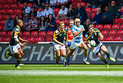 South Africa scrum-half Marco Jansen Van Vuren feeds the scoring pass to South Africa fly-half Immanuel Libbok during the World Rugby U20 Championship 3rd Place play-off  match Argentina U20 -V- South Africa U20 at The AJ Bell Stadium, Salford, Greater Manchester, England on Saturday, June 25, 2016.(Steve Flynn/Image of Sport)