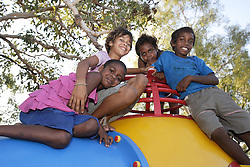 Girls and boys have fun at a dancing session in the local park, Kununurra.  The activity is part of our wider program to keep children and young people engaged in fun activities and keep them away from antisocial and risky behaviours.